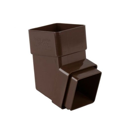 Plastic Guttering Square Downpipe 112.5 Degree Offset Bend 65mm Brown