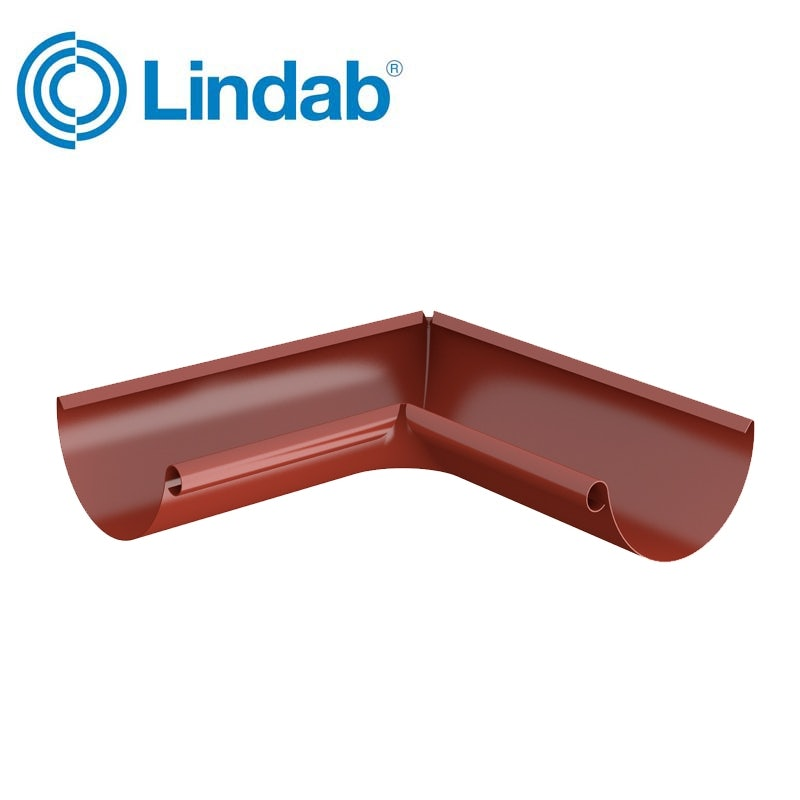 Video of Lindab Half Round 90dg Inner Gutter Angle 150mm Painted Tile Red