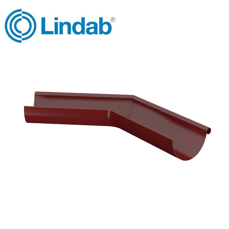 Video of Lindab Half Round 135dg Outer Gutter Angle 150mm Painted Dark Red