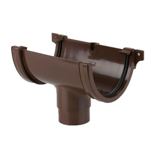 Plastic Guttering Deepstyle High Capacity Running Outlet 115mm - Brown