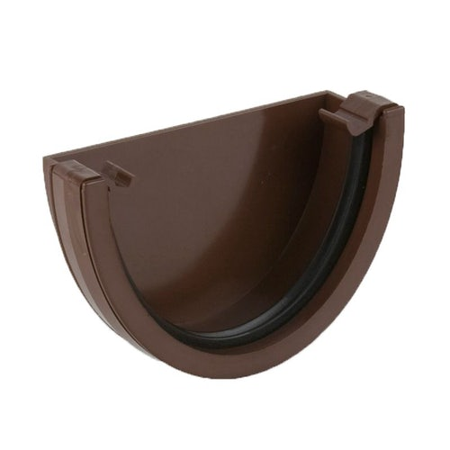 Plastic Guttering Deepstyle High Capacity External Stopend 115mm Brown