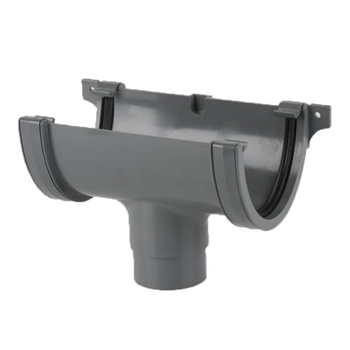 Plastic Guttering Deepstyle High Capacity Running Outlet 115mm - Grey