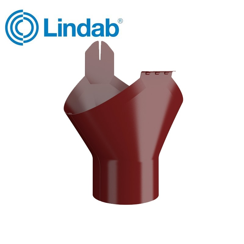Lindab Half Round Gutter Outlet 190mm Painted Dark Red
