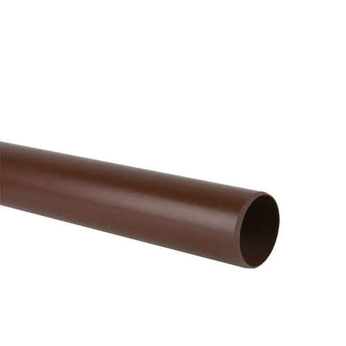 Waste Pipe Push Fit 3m Plastic Compression Pipe 40mm - Brown