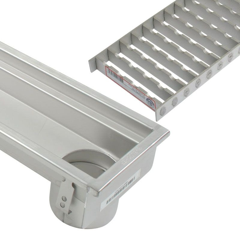 Industrial Linear Channel Drain 1000mm For Concrete Floor   End Outlet
