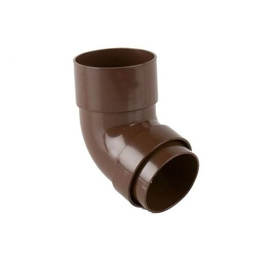 Plastic Guttering Round Style Downpipe 112.5 Degree Bend 68mm - Brown