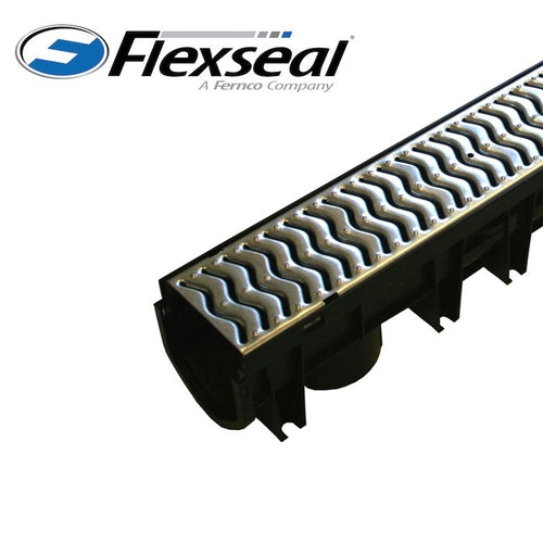 Channel Drain with Heelguard Galvanised Steel Grating - 1m