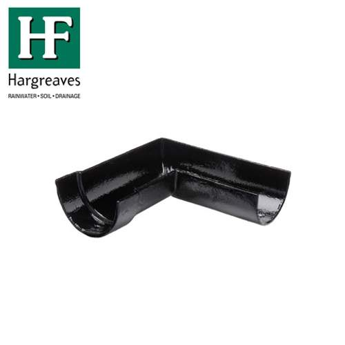 Cast Iron Deep Style Guttering 90Dg Right Hand Angle - 125mm Black