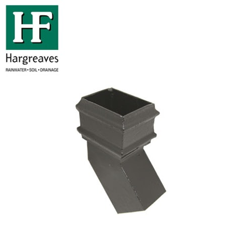 Cast Iron Rectangular Downpipe 135dg Side Bend 125mm x 100mm - Black