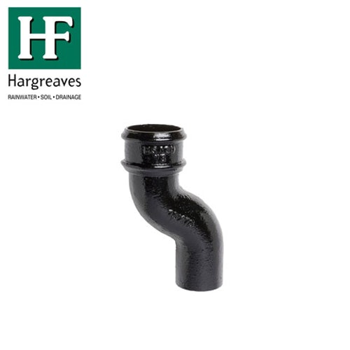 Cast Iron Round Downpipe 75mm Offset Bend 65mm - Black Finish