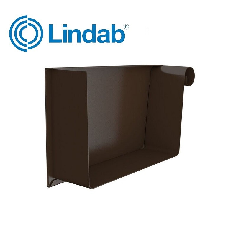 Lindab Rectangular Right Hand Stop End 140mm Painted Brown ...