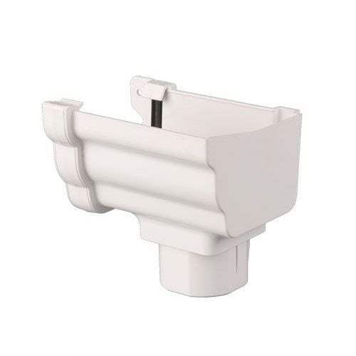 Plastic Guttering Ogee Prostyle Stop End Outlet RH 106mm - White