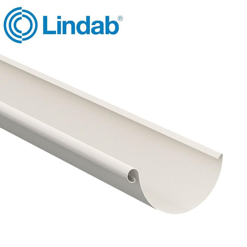 Lindab Steel Half Round Guttering 125mm x 3m Painted Antique White