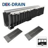 Dek-Drain SMART HD-PE Channel & Heelguard Grate C250 - 1000 x 158 x 121mm