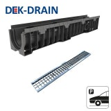 Dek-Drain VIP HD-PE Channel & Mesh Galvanised Grate B125 1000 x 100 x 80mm